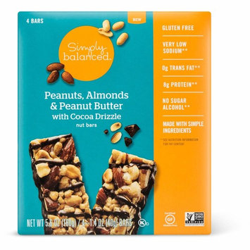Simply Balanced Peanuts, Almonds & Peanut Butter with Cocoa Drizzle Nut Bars 1.4oz x 4 bars, pack of 1 (total 5.6oz)
