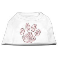 Mirage Pet Products 5260 MDWT Red Paw Rhinestud Shirts White M 12