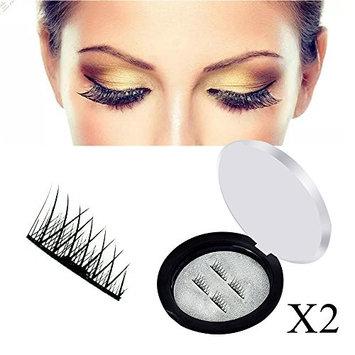 Magnetic False Eyelashes-Luismia Reusable Duel Magnetic Fake Eyelahes(2 pairs) - Natural-Ultra Long & Thin-Handmade Fiber (Cross Eyelashes)