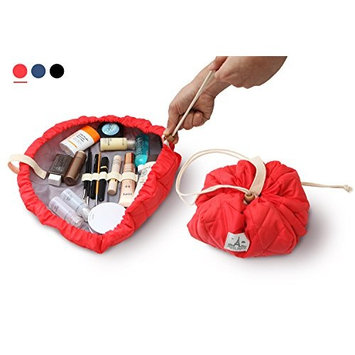tepapa House - 3 seconds quick packing lazy drawstring cosmetic bag - Stylish quilting makeup pouch - Banding for stick type tools - Large red magic makeup bag with zipper jewelry pouch