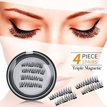 Magnet Eyelashes Triple Magnetic False Eyelashes Full Strip 3D Three Fake Eye Lashes, Natural Look, No Glue (4pcs)