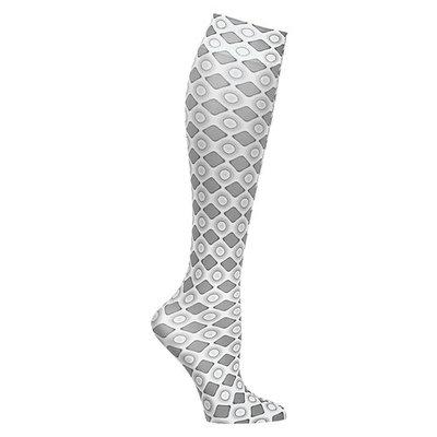 Celeste Stein Women's Mild Compression Knee High Stockings - Grey Diamonds