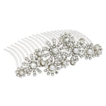 ACCESSORIESFOREVER Women Bridal Wedding Jewelry Crystal Rhinestone Elegant MidSize Floral Hair Tiara Comb