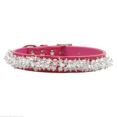 Mirage Pet Products 35-01 MDPK Faux Croc Beaded Collar Pink Medium