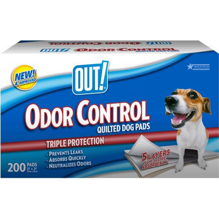 "OUT! Odor Control Quilted Dog Pads, 200ct, 21"" x 21"