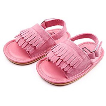 Summer Lovely Tassel Style Baby Girl Boy Toddlers Kids Sandals Shoes with Soft Anti-Slip Rubber Sole Matte Upper Pink Size 11 Fits Babies Aged 0 to 6 Months