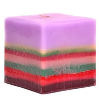 Usc 3 Pcs of Colored Layer Square Candles 5 Inch 4.75 in. diameterx4.75 in. tall (Pack of 3)