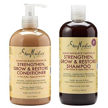 Shea Moisture Strengthen, Grow & Restore Shampoo and Conditioner Set, Jamaican Black Castor Oil Combination Pack, 16.3 oz Shampoo & 13 oz. Conditioner