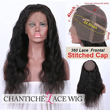 Chantiche Top Quality 360 Body Wave Lace Frontal Band with Stitched Cap Brazilian Virgin Human Hair 360 Frontal Lace Closure with Natural Hairline and Baby Hair for Back Women 18inches Natural Color
