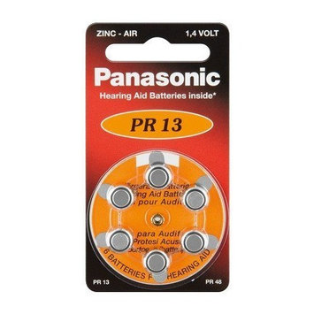 Button Cell Zinc-Air Hearing Aid Cells 6 Panasonic Piece Blister Card V-13 6 Bl (Pr48/Pr13H)