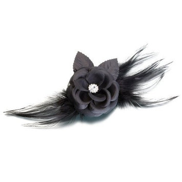Lillian Rose Black Flower & Feather Clip/Pin