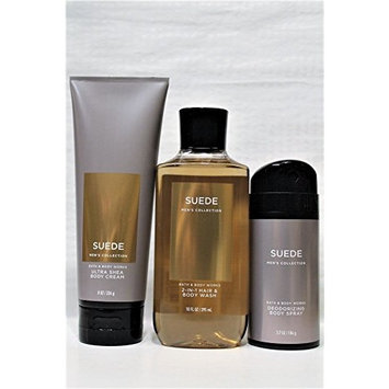 Bath & Body Works - Signature Collection – Suede - 2-in-1 Hair + Body Wash – Deodorizing Body Spray & Ultra Shea Body Cream - designed just for him!