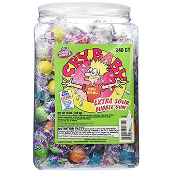 Cry Baby Extra Sour Bubble Gum 240ct. Tub, 38oz - Pack of 3 [3 Pack]