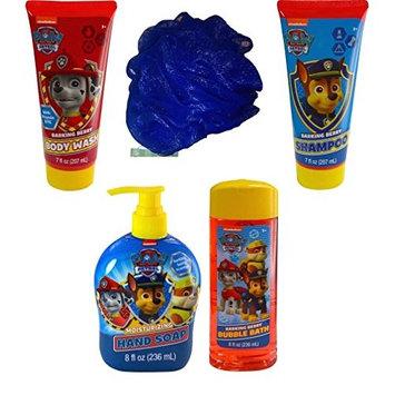 Paw Patrol Bath and Body Bundle - 5 Items: Barking Berry Collection of Body Wash, Bubble Bath, Shampoo, Hand Soap, with Bonus Bath Sponge