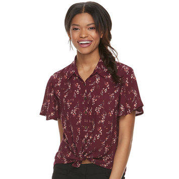 Juniors' Rewind Printed Tie-Front Shirt