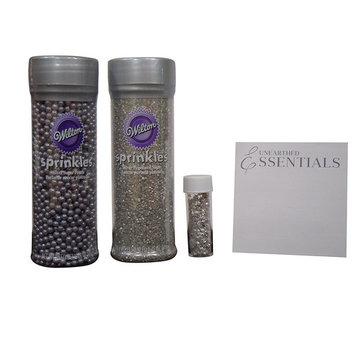 Wilton Silver Decorating kit – Pearlized Sugar ~ Sugar Pearls ~ Edible Star Accents