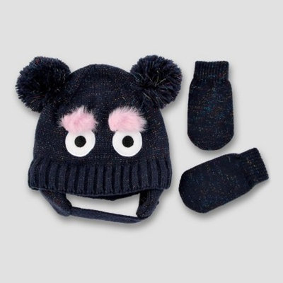 Baby Double Pom Beanie with Lurex and Mitten Set Cat & Jack™ - Monster Critter