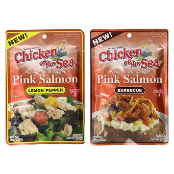 Chicken Of The Sea Pink Salmon Variety Bundle, 2.5 oz (Pack of 6) includes 3-Pouches Lemon Pepper Flavored + 3-Pouches Barbecue Flavored