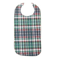 Adult Bib With Waterproof Vinyl Backing Washable 17x34 Green Plaid (Snap Closure) Made in USA … (2)