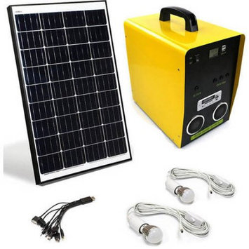 ALEKO BCH03K50AH Solar Outdoor Generator, 12V 50W, 50AH with LED Lights, 100W 12V Monocrystalline Solar Panel, Audio Player, Speakers and Multi-function Charger