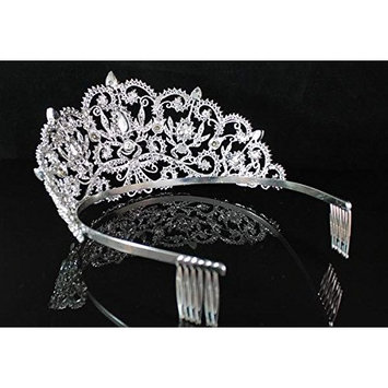 Janefashions Victorian Clear Rhinestone Crystal Tiara w/ Hair Combs Bridal Prom Pageant T1505