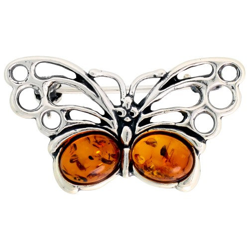Worldjewels Sterling Silver Butterfly Russian Baltic Amber Brooch Pin, 1 1/4 inch wide