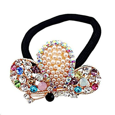 cuhair 1pc Crystal Pearl Butterfly Design For Women Girl Ponytail Holder Hair Tie Band Accessories