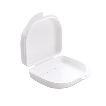 ROSENICE Retainer Case With Vent Holes and Hinged Lid Snaps Mouth Guard Case Orthodontic Dental Retainer Box in White