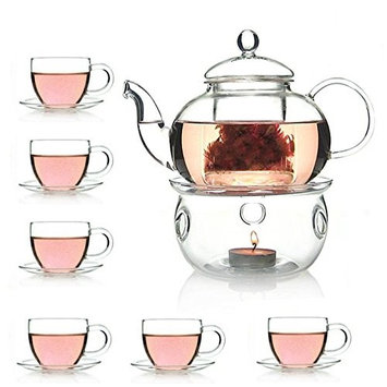 Tealice 27 OZ Glass Filtering Tea Maker Teapot With a Warmer 6 Tea Cups and Saucers (Pack of 14)