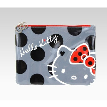 Hello Kitty Flat Cosmetic Pouch: Black Polka Dot