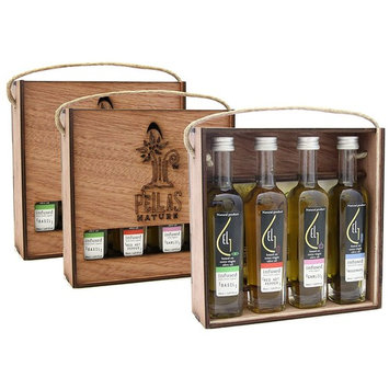 Pellas Nature   Fresh Organic Infused Olive Oil Gift Set   Red Hot Pepper   Basil   Garlic   Rosemary   Wooden Gift Set   Single Origin Greek EVOO   4 X 1.7oz Bottles   Pack of 3