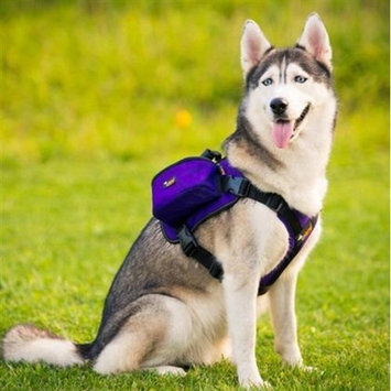 Paw Essentials MWG-C326 Dog Backpack Medium Large Dogs Harness With Removable Adjustable Self Saddle Bag Carrier Hound Bag for Travelling Hiking Camping - Purpl