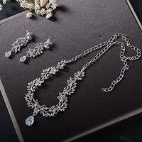 Missgrace Women Wedding Rhinestone Crystal Choker Necklace Earrings Jewelry Sets