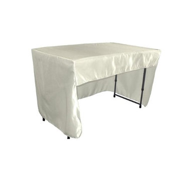 LA Linen TCbridal-OB-fit-48x30x30-IvoryB25 Open Back Fitted Bridal Satin Classroom Tablecloth Ivory - 48 x 30 x 30 in.