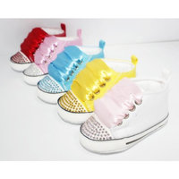 Converse Style Baby Pram Shoes With Crystals And Ribbons