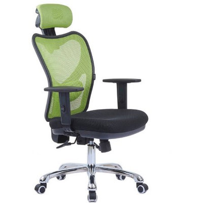 LSCING High-Back Comfortable Mesh Office Chair with Adjustable Headrest, Armrest and Lumbar Support, Green