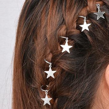 Bluelans 5pcs Dread Lock Dreadlocks Silver Star Metal Cuffs Clips Braiding Hair Decoration Filigree Hair Ring