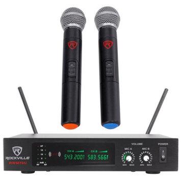Rockville RWM70U Dual UHF All Metal Handheld Wireless Microphone System w/LCD