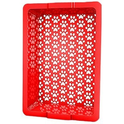 Shake and Rake 17 by 14 by 5-Inch Recyclable Plastic Manual Cat Litter Sifter, Red