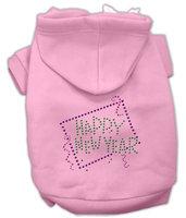 Mirage Pet Products 5435 XSPK Happy New Year Rhinestone Hoodies Pink XS 8