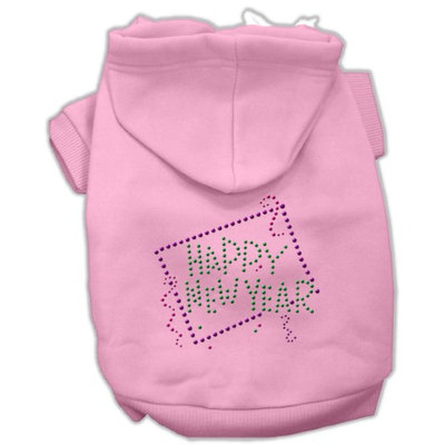 Mirage Pet Products 5435 LGPK Happy New Year Rhinestone Hoodies Pink L 14