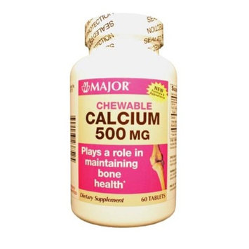 Major Pharmaceuticals MAJ 700583 500 mg Calcium Chewable Tablets Off White - 60 Count