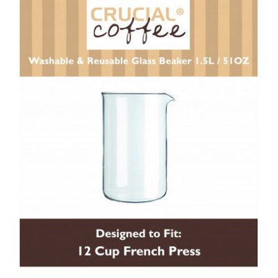 Crucial Coffee 12 Cup Universal French Press Glass Beaker Fits Bodum & All Brands