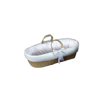 Babydoll Fitted Moses Basket with Gingham Trim, Blue