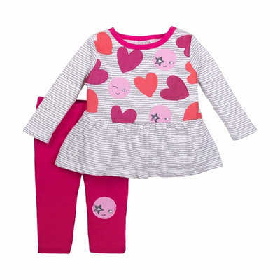 born Baby Girl Long Sleeve Peplum Top & Legging 2pc Outfit Set