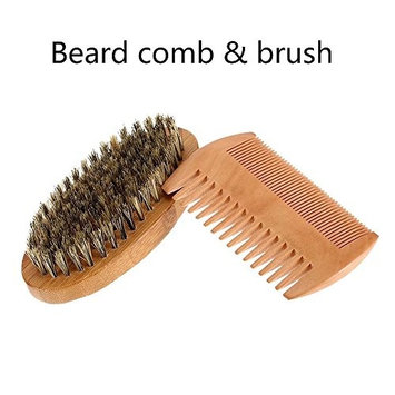 Beard Brush and Comb Set,Handmade Wooden Comb and Natural Boar Bristle Beard Brush Kit for Men,Boar Bristle Beard Brush, Beard Mustache Combs,grey brush