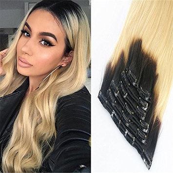 HairDancing Clip on Hair Extension Human Hair 120G/7Pcs Color Black Fading to #613 Bleach Blonde Rremy Hair Clip in Extensions Silky Straight(14