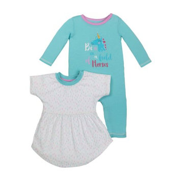 Little Star Organic Newborn Baby Girl Long Sleeve One Piece Romper & Dress, 2-pack