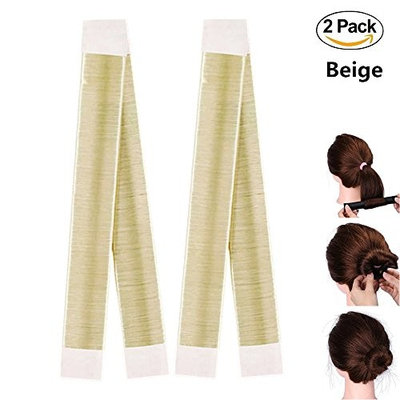 2 Pcs Hair Bun Shapers,FuzzyGreen Women\'s Hair Bun Maker French Twist Hair Fold Wrap Snap Hair Styling Tools