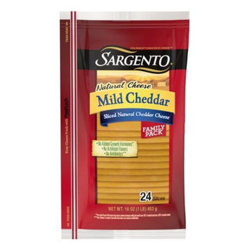 Sargento Natural Cheese Mild Cheddar Sliced Cheese, 16 Oz., 24 Count